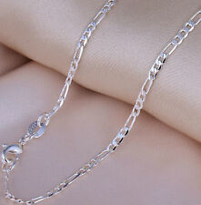 """Sterling Silver 925 stamped 2mm fine Figaro Chain necklace pendant 16-30"""" F2S"""