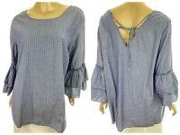 Jane & Delancey Size 2X Cotton Blouse Top Blue & White Stripe Bell Sleeves