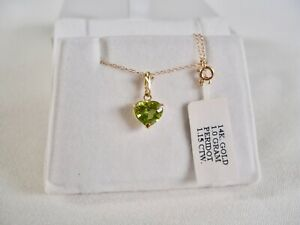 Galaxy Gold-  1.15 Ct. Peridot Solitaire 'HEART'  14k Gold Pendant & Necklace