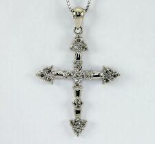 Diamond cross pendant necklace 14K w/ gold fancy champagne round brilliant .25CT