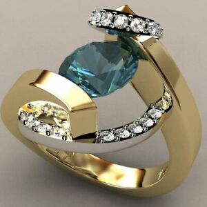 Gorgeous 18K Yellow Gold Plated Rings Women Blue Sapphire Jewelry Gift Size 8