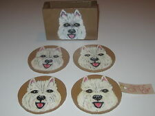WEST HIGHLAND TERRIER WOOD COASTERS SET OF FOUR & CADDY FREE SHIPPING USA NWT!