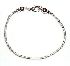 """BR264 Add-A-Bead Silver Chain Bracelet w Removable End Caps & Lobster Clasp 7.5"""""""
