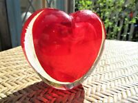 Vintage Heart Shaped Red  Art Glass Paperweight Bud Vase