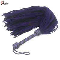 Real Cowhide Suede Leather Flogger 100 Falls Purple Black Heavy Thuddy whip