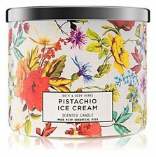 Bath Body Works PISTACHIO ICE CREAM 14.5 oz 3 Wick  Large Candle Floral Jar New