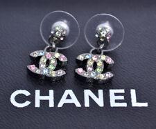 CHANEL CC Logos Color Stone Stud Dangle Earrings Crystal & Metal 05A w/BOX w347