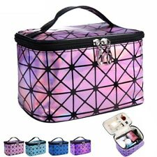 Plaid Cosmetic Travel Bag Waterproof Double Zipper Makeup Toiletry Storage Cases