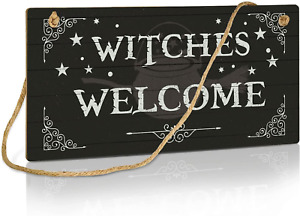 Putuo Decor Witch Sign, Halloween Party Decorations for Door, Kitchen, Bar, 10x5