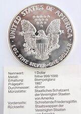 One $ 1987 Dollar 999er Silbermünze USA coin 31,1 gr. silver eagle