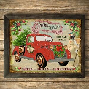 Christmas Truck Print Sign ,Picture Trees Wall Decor, a4 Unframed Snowman