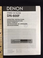 Denon DN-600F CD Player Original Owners Manual 12 English Pages dn600f