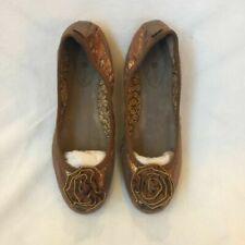 Lindsay Phillips Womens Liz Ballet Flats Brown Metallic Flower Leather 8 M New