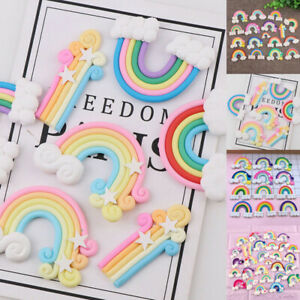 Wholesale Polymer Clay Cabochon Cartoon DIY Rainbow Decor Flatback Crafts Cloud