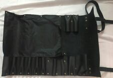 BLACK Real Leather Knife Roll, Chefs Bag