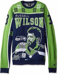 KLEW NFL Men's Seattle Seahawks Russell Wilson #3 2015 Ugly Sweater,Green