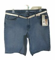 Lee Riders Mid-Rise Stretch Denim Bermuda Shorts & Belt Womens Size 6 M