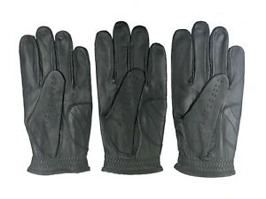 ***New***  (3) Mens All Cabretta Black Leather Golf Gloves (Left Hand)
