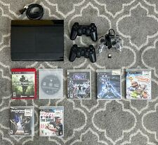 Sony PlayStation 3 PS3 Super Slim Console, 3 Controllers 10+ Games Bundle