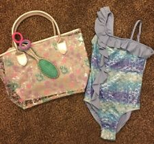Justice Girls Mermaid Swim Suit Size 8 And Mermaid Beach Bag NEW