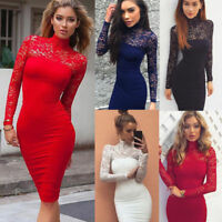 Women Lace Bodycon Long Sleeve Summer Cocktail Evening Party Short Mini Dress