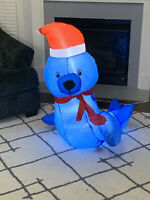 Gemmy Airblown Inflatable Seal With Santa Hat Christmas Yard Decoration