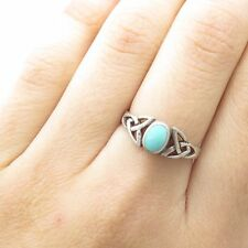Celtic Design Open Ring Size 7 925 Sterling Silver Real Turquoise Gem Triquetra