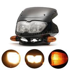 Motorcycle Fairing Headlight & 2 Indicators Universal Streetfight Head Lamp New