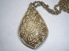 Vintage Sarah Coventry Pendant Brooch Pin Goldtone W/ Chain Large 3 x 1 3/4 in.