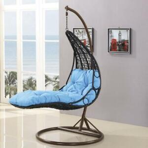 X8020 Swing Rattan Egg Chair Blue Cushion Laying Bed Outdoor Egg Chair