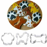 3Pcs Stainless Steel Cake Cutter Puppy Dog Bone Paw Shape Cookie Baking Mould