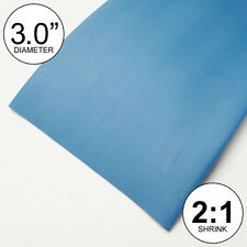 "3"" ID Blue Heat Shrink Tube 2:1 ratio 3.0"" polyolefin (8 inches) foot/ft/to 80mm"