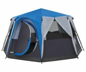 Coleman Cortes Octagon 8 Person Blue Family Tent Glamping Camping Outdoors