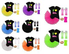 I Love 80s Neon Tutu Skirt 80's Fancy Dress Fluorescent Colours Hen Party Beads