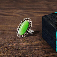 Retro Silver long oval turquoise ring Anniversary party Jewelry gift Size 9