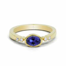 Yellow Gold Oval Tanzanite accent Fine Gemstone Rings