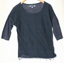 NAVY BLUE LADIES CASUAL LACE TOP SIZE 10 NEXT