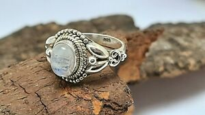 Moonstone Ring,925sterling silver,natural gemstone silver ring handmade ring
