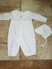 Petit Ami Infant Boys White Romper Embroidered Christmas Collar 6 mo MINT