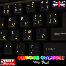 Spanish English Non-Transparent Keyboard Stickers Computer Laptop PC 2 Colours!