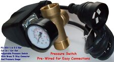 QUALITY FULLY ADJUSTABLE PRE-WIRED WATER PUMP PRESSURE SWITCH + TEE & GAUGE