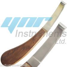 LEFT HAND HOOF KNIFE WOODEN & STAINLESS STEEL BLADE-YNR