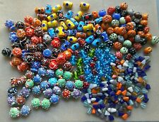 1.4 kg Fancy Lampwork Glass Bead Mix Job Lot Bundle Indian handmade dotty 200+