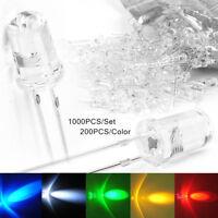 1000pcs 5MM Red/Green/Blue/Yellow/White Superbright LED Light Bulb Lamp 20000mcd