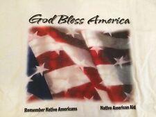 God Bless America Remember Native Americans Aid Flag T-Shirt L Gildan Cotton