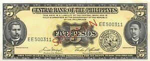 Philippines  5  Pesos  1949  P 135e  Series  EE  Uncirculated Banknote PP1
