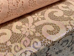 Pearlescent Shimmer Lace Fabric, Per Metre - Floral Swirl Design - Salmon