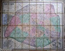 Grande Carte / Plan de PARIS 1876 entoilée ANDRIVEAU-GOUJON cartonnage + guide