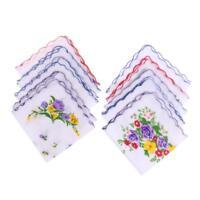 10pcs Vintage Floral Hankies Ladies Cotton Pocket Hanky Square Handkerchiefs