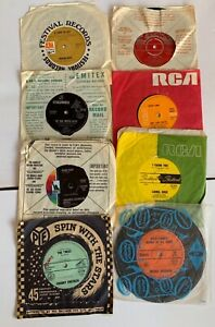 Vintage Vinyl Records 45rpm Mixed LOT x 8 Credence Chubby Checker Lulu REPURPOSE